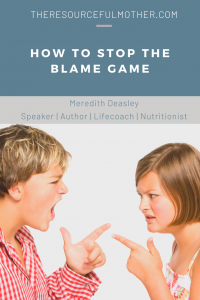 Children pointing their fingers in blame at each other.