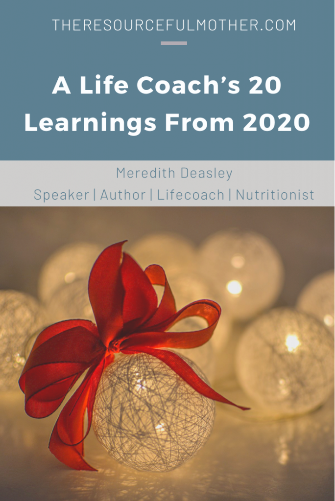 Holiday ornaments on promotional image for A Life Coach's 20 Learnings From 2020.