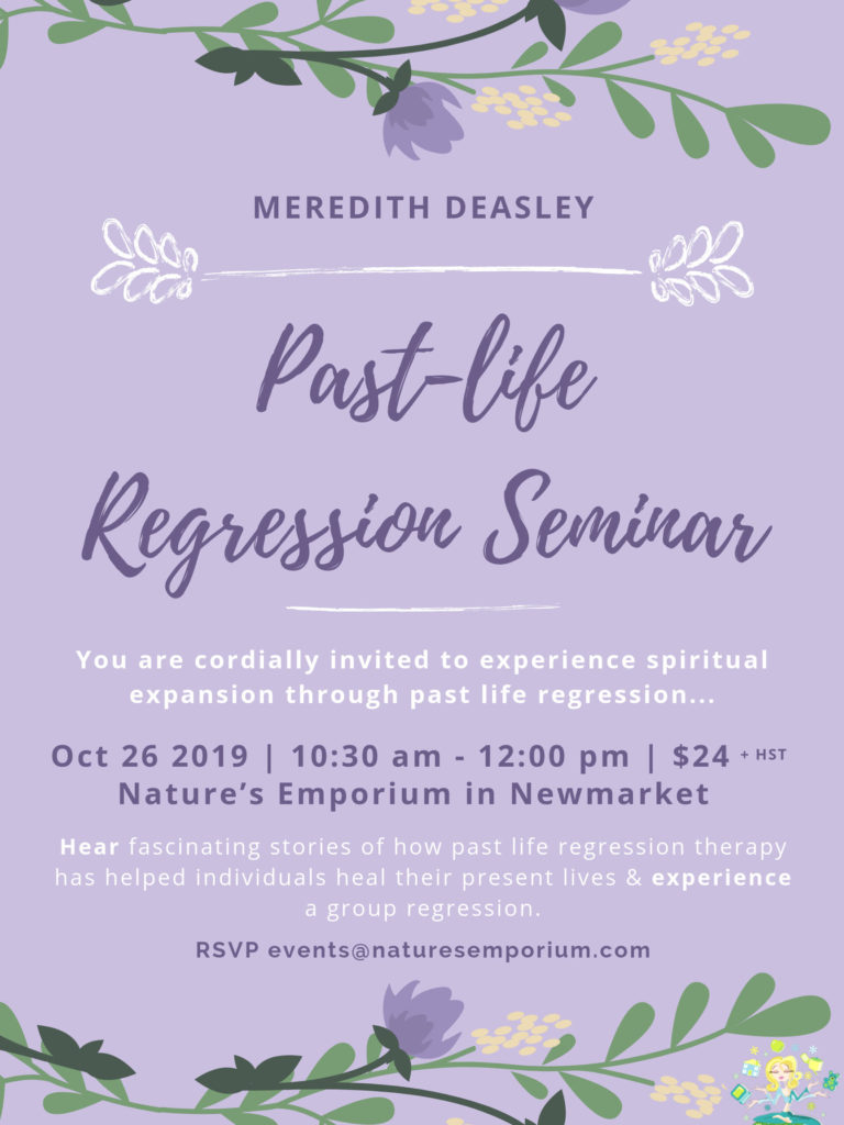 My next past-life regression seminar is October 26th.