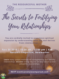 My next seminar on fortifying relationships is November 30th.